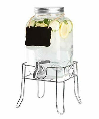 Outdoor Glass Beverage Dispenser with Sturdy Metal Base, Stainless Steel Spigot