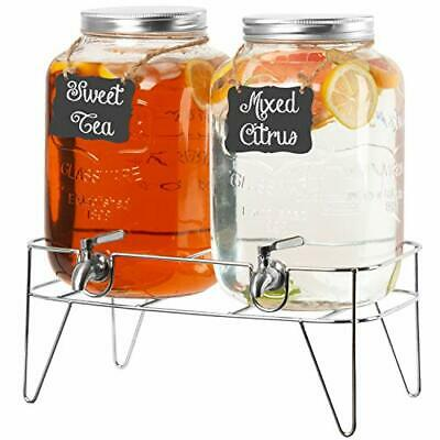 2 Pack of Outdoor Glass Beverage Dispensers with Sturdy Metal Bases & Stainless
