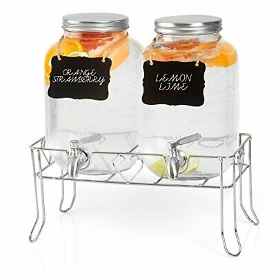 Outdoor Glass Beverage Dispenser 2 Pack with Sturdy Metal Base, Hanging Chalkboa
