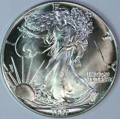 1 Troy Ounce .999 Pure 1987 American Silver Eagle Gem Brilliant Uncirculated