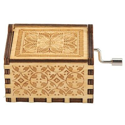 Carved Wooden Music Box Hand Crank Musical Box HG