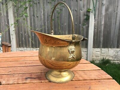 Small  Brass Coal Bucket / Scuttle Helmet shaped with Lions Heads Planter ?