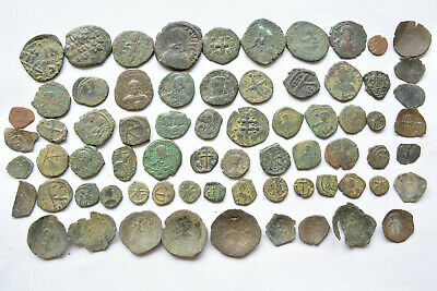 Lot 70 Byzantine bronze Follis & Cup coins for cleaning 500-800 AD.