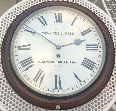 "Good Antique English 12 "" Dial Fusee Wall Clock By Thwaites & Reed Working"