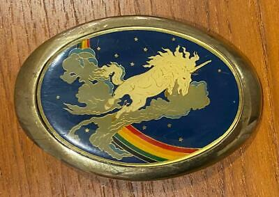 Solid Brass Rainbow and Unicorn Belt Buckle By Baron Buckles