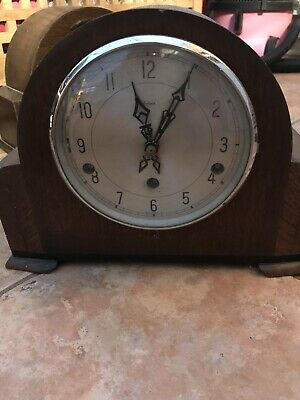 Vintage Enfield Clock Company London Wooden Chiming Mantle Clock