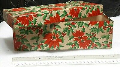 Antique Holly Berries* Poinsettias* Christmas Gift Box Dated 1918