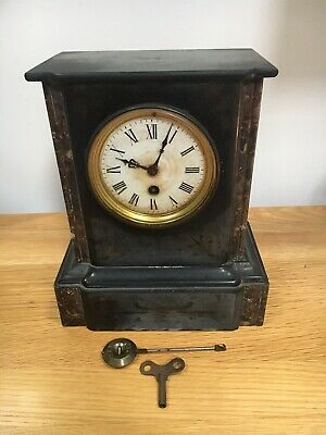 Antique French Black Marble And Slate Mantle Clock
