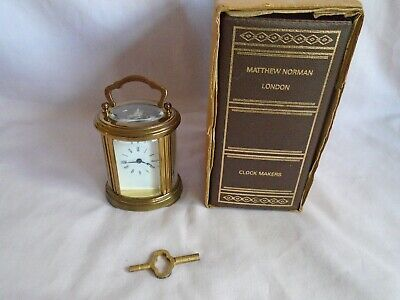 Vintage Matthew Norman Miniature Oval Carriage Clock + Key + Carrying Case