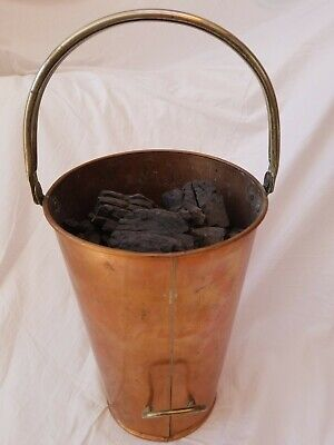 Vintage Copper Coal Scuttle Coal bucket 2 handles