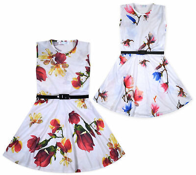 Girls Skater Dress Kids White Party Summer Floral Dresses New Age 5-13 Years