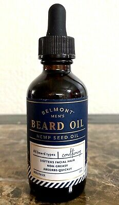 Belmont Men's Beard Oil Hemp Seed Oil ~Conditioning~ 2 fl oz / 60 mL New