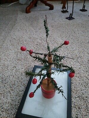 Antique German 10 Inch Feather Tree..Marked On Base