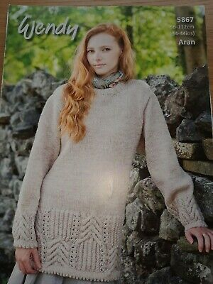 "Wendy Knitting Pattern XL Twist Cable Tunic Sweater Chunky 32-38/"" Ladies 5837"