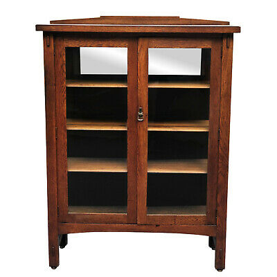 Antique Arts & Crafts Mission Oak Bookcase Cabinet w/ Mirror Back