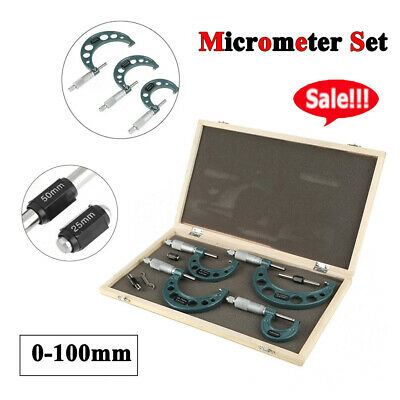 Proster 4 Pcs 0-100mm Metric External Outside Micrometers 0.01mm Graduations Measuring Calipers With Wooden Case For Factory Workshop etc