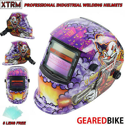 Auto Darkening Welding Grinding Helmet With Solar Panel IV UV Protection CLOWN