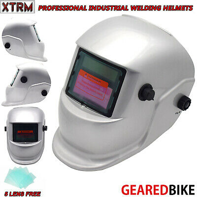 Auto Darkening Welding Grinding Helmet With Solar Panel IV UV Protection SILVER