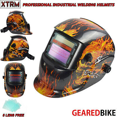 Auto Darkening Welding Grinding Helmet With Solar Panel IV UV Protection FLAME