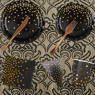 Disposable Tableware Set include Paper Plates Dissert Plates Napkin Paper Straws and Party Tablecloth for Birthday Party Supplies Rorchio 151pcs Black and Gold Party Supplies