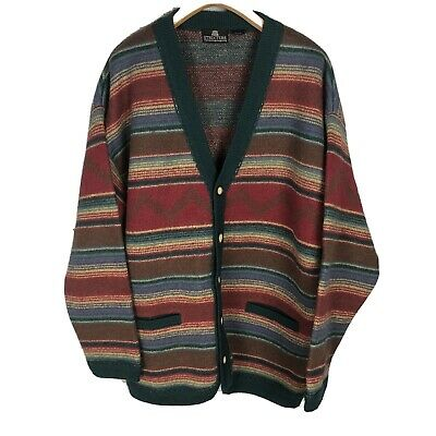 Structure Men's Large Sweater Heavy Wool Cardigan Jacket Multicolored Striped