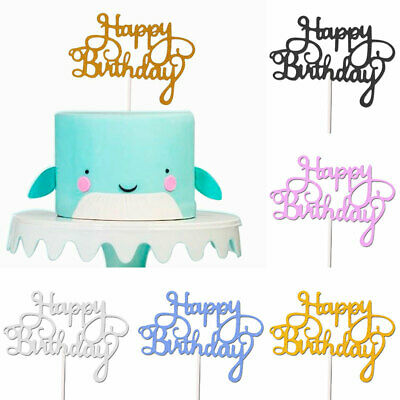 5//10//15Pcs Happy Birthday Cake Inserted Cards Topper Kid Baby Shower Party Decor