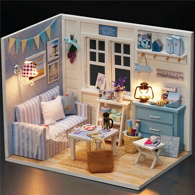 DIY Handcraft Wooden Dolls House Miniature Project Kit Kids Toys Gift with Cover