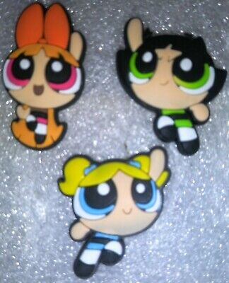 PowerPuff Girls Shoe Charms! 3 Diff PCS! For Crocs, Bracelets, Crafts & More!