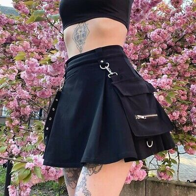 Women Mini Short A Line Skirt Gothic Vintage  Punk Pleated Black Pocket Dress