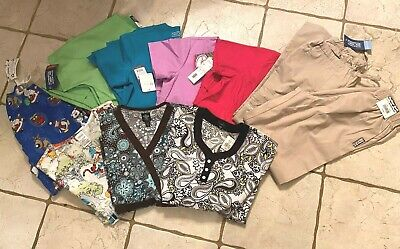 Lot of 10 ~ New with Tags Scrubs,  7 tops, 2 pants, 1 jacket ~ XS - X Small