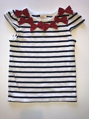 Gymboree Parisian Afternoon Girls Size 7 Red White Bow Top Shirt  NEW