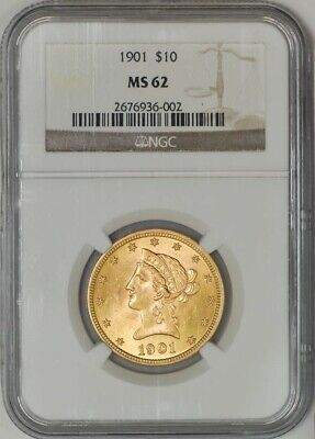 1901 $10 Gold Liberty MS62 NGC 943266-8