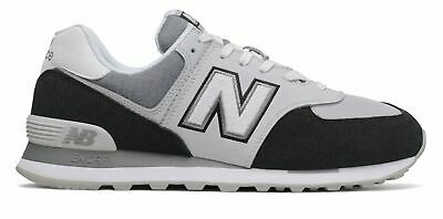 New Balance Men's 574 Shoes Black with White
