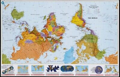 """What Up? South! 36""""x56"""" Upside-Down Perspective Laminated World Map"""