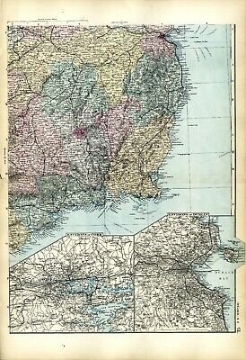 1891 Antique Map IRELAND South East HOUSES Farms RAILWAYS Stations CORK DUBLIN