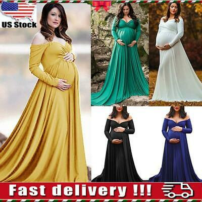 Pregnant Women Off Shoulder Maternity Dress Photography Prop Photo Shoot Gown