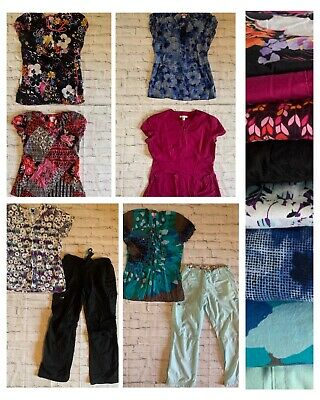 8pc Lot Women Koi Designer Scrubs Floral Pattern Solid Top Bottom Mix Small Med