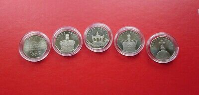 2018 Isle of Man Sapphire Coronation Set of 50p coins - Circulated in capsules