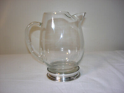 Vintage glass Martini mixer w/ sterling silver base Mid Century cocktail pitcher