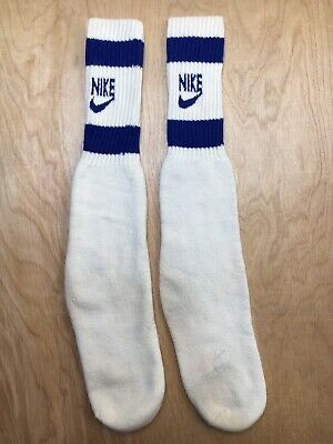 Nike Socks Vintage Tube Old Swoosh Logo Socks Blue Stripe Bars 80s Rare