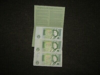 3x bank of england one pound notes with history of english pound note.