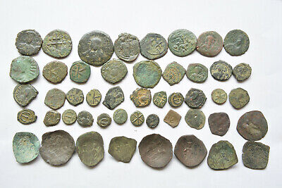 Lot 48 Byzantine bronze Follis & Cup coins for cleaning 500-800 AD.