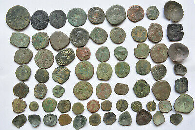 Lot 68 Byzantine bronze Follis & Cup coins for cleaning 500-800 AD.