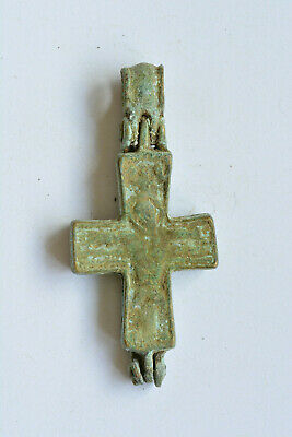 Byzantine bronze cross encolpion Jesus Christ crucified 9th century AD