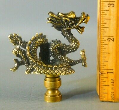 Mystical Asian Dragon Solid Antique Finish Brass Large Lamp Finial 2 3/4'' High