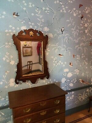Miniature Artisan Signed Chapman Lovely Colonial Wooden Wall Mirror