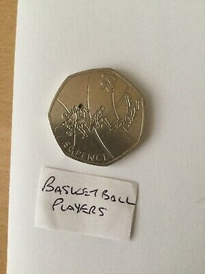 Basketball 50p Coin 2011 Olympic London 2012 Circulated Fifty Pence Royal Mint