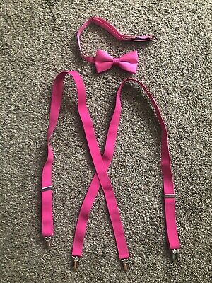 Mens Hot Pink Bow Tie With Suspenders Set