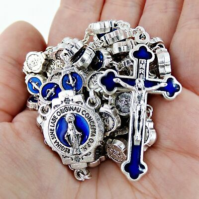 Blue Enamel Saint Mary Miraculous Medal Rosary Silver Tone, 21 Inches
