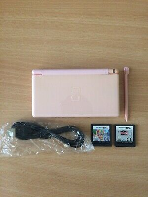 Nintendo DS Lite Coral Pink Handheld System with 2 Games